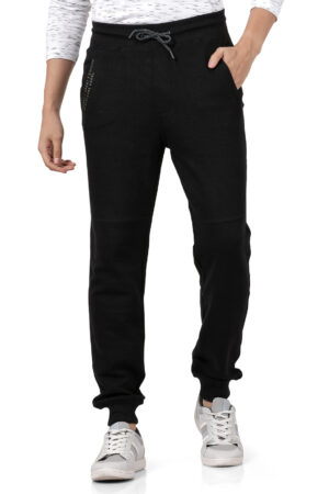 Derby Black Solid Slim Fit Knitted Jogger