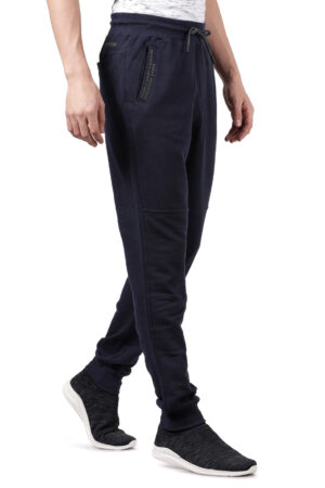 Derby Navy Blue Solid Slim Fit Knitted Jogger