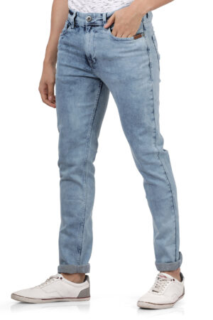 Derby Sky Blue Faded Slim Fit Jeans