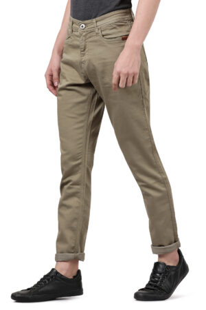 Derby Olive Clean Look Slim Fit Knitted Denim Jeans